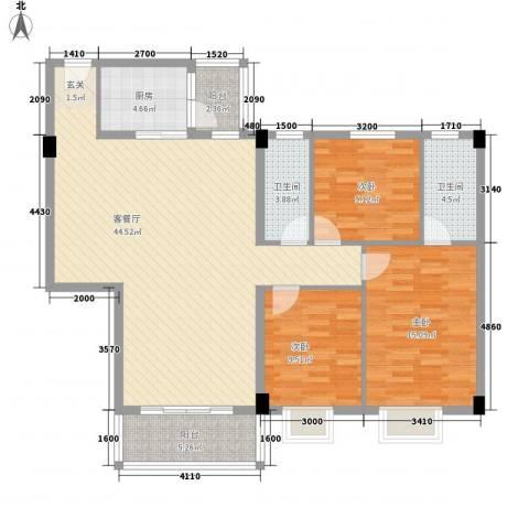 泰景花园3室1厅2卫1厨139.00㎡户型图