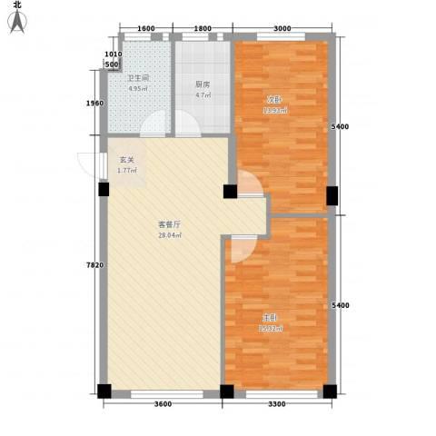 锦山秀城2室1厅1卫1厨93.00㎡户型图