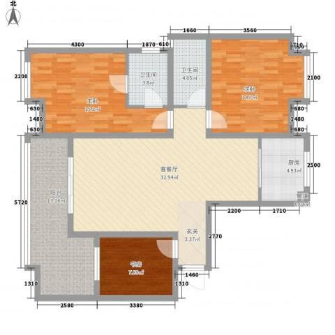 元友・南城都汇二期3室1厅2卫1厨117.00㎡户型图