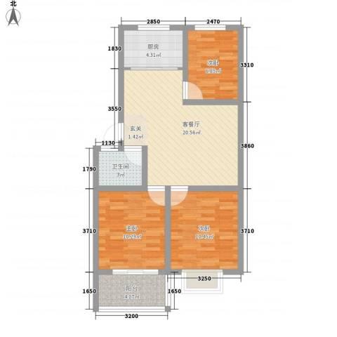 恒信沁园春3室1厅1卫1厨87.00㎡户型图
