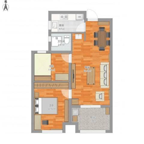 天正理想城2室1厅1卫1厨81.00㎡户型图