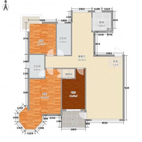 中央公馆3室1厅2卫1厨153.00㎡户型图