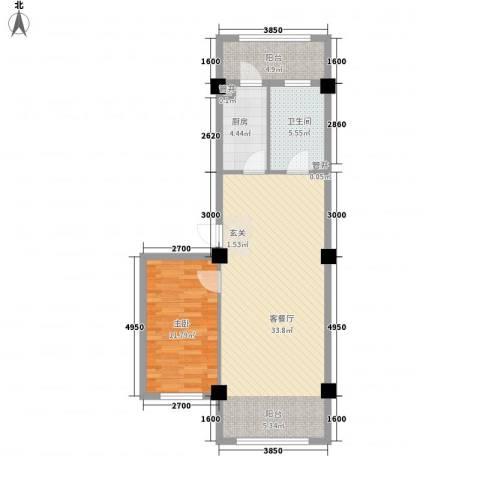 温泉新城1室1厅1卫1厨78.00㎡户型图