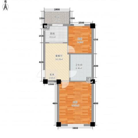温泉新城2室1厅1卫1厨68.00㎡户型图