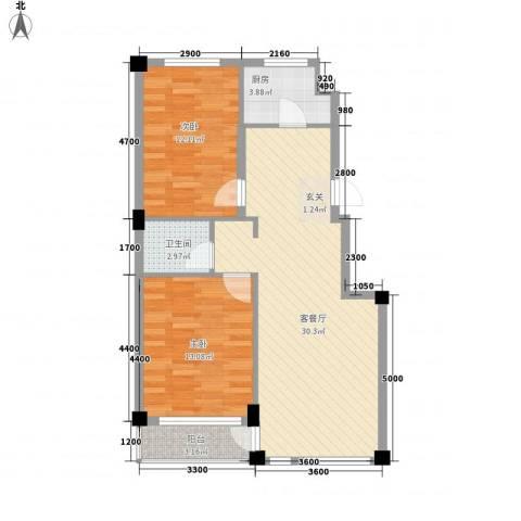 锦山秀城2室1厅1卫1厨92.00㎡户型图