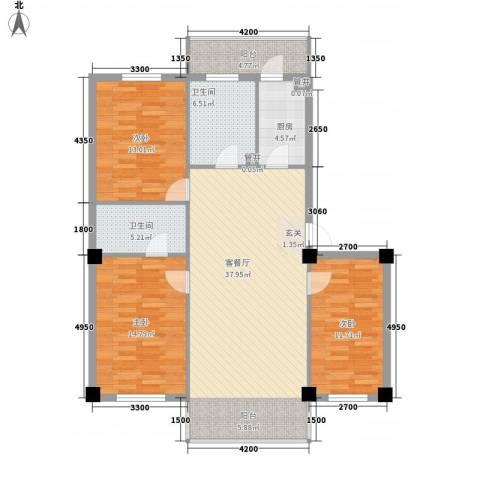 温泉新城3室1厅2卫1厨122.00㎡户型图
