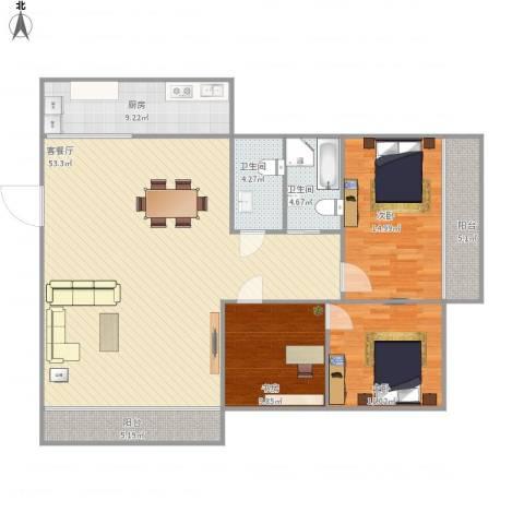 嘉惠苑3室1厅2卫1厨157.00㎡户型图