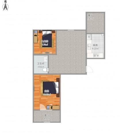 昆仑唐人中心2室1厅1卫1厨85.00㎡户型图