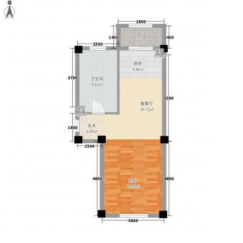温泉新城1厅1卫0厨63.00㎡户型图