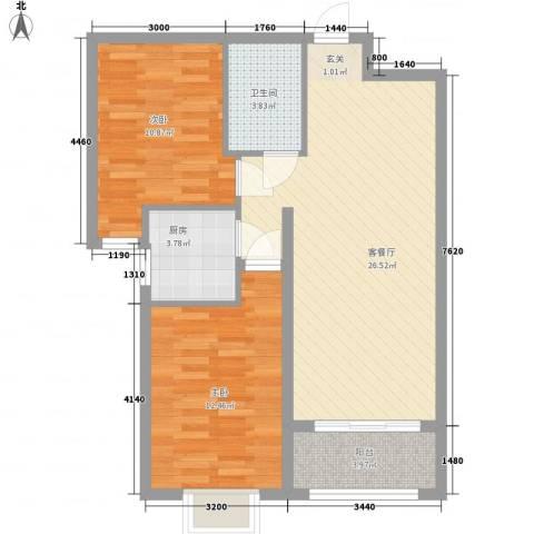 奥林・景泰嘉苑2室1厅1卫1厨87.00㎡户型图