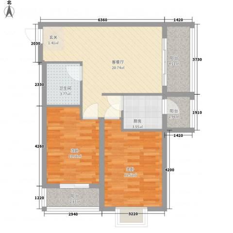 奥林・景泰嘉苑2室1厅1卫1厨86.00㎡户型图