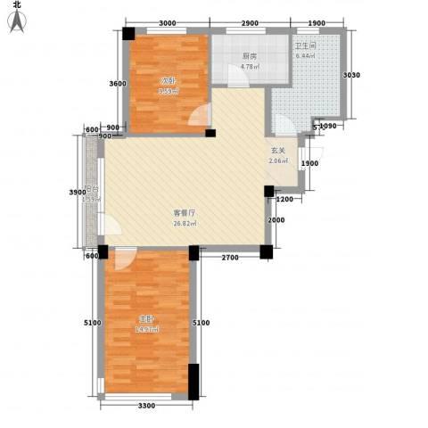 锦山秀城2室1厅1卫1厨90.00㎡户型图