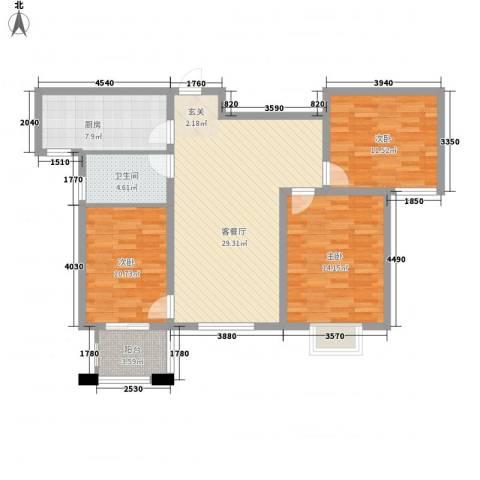紫薇壹�二期3室1厅1卫1厨116.00㎡户型图