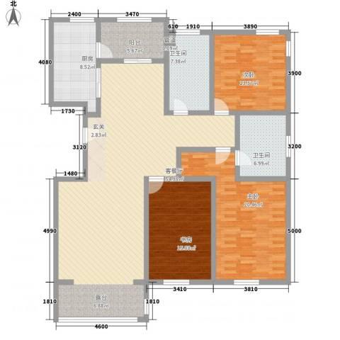 九合国际3室1厅2卫1厨172.00㎡户型图