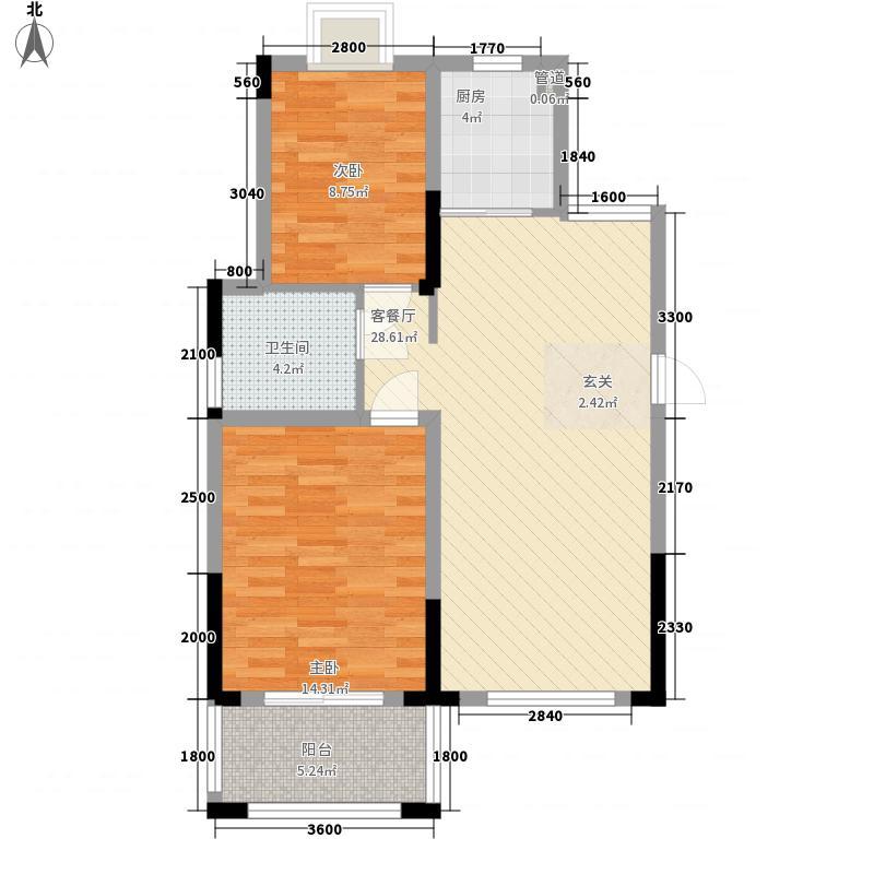 聚佳・鑫湖畔8.00㎡高层C1户型2室2厅1卫1厨