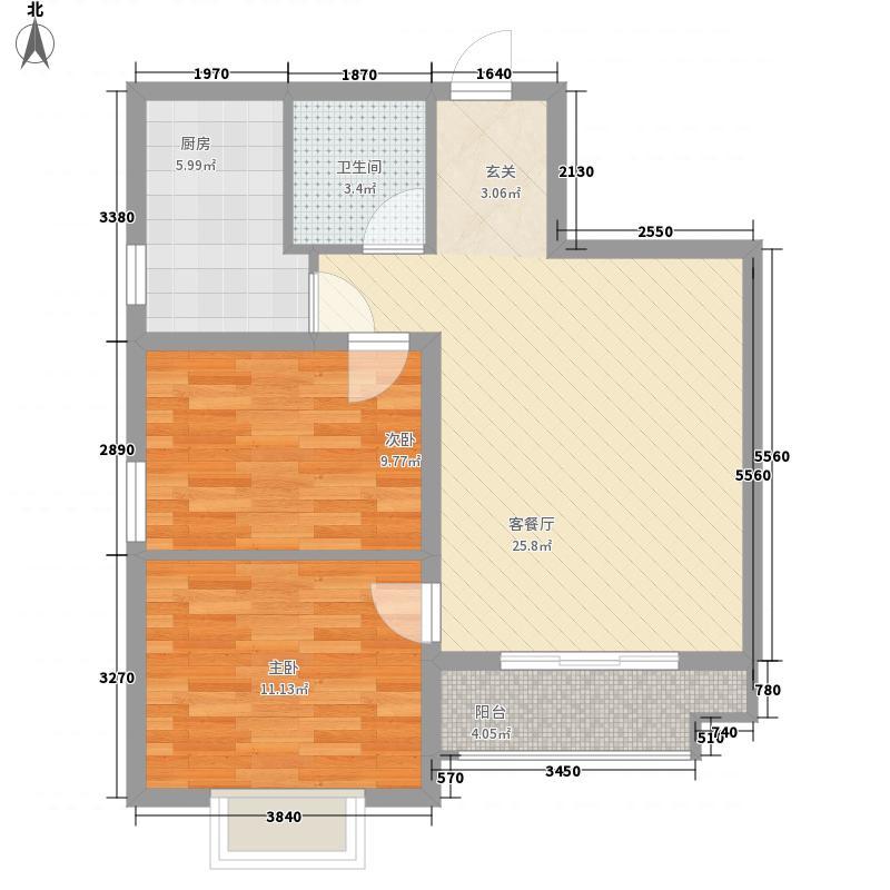 观湖名邸285.42㎡B户型2室2厅1卫1厨