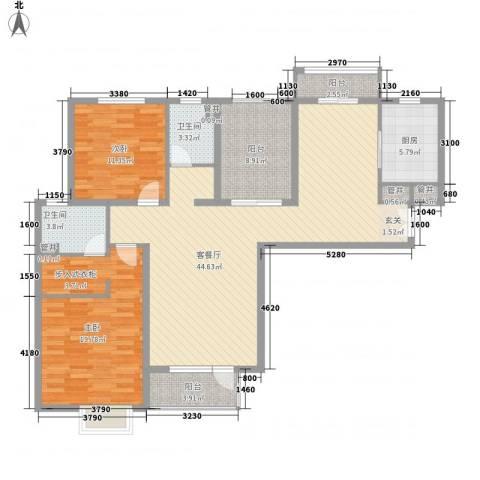 鹏欣・水游城2室1厅2卫1厨105.24㎡户型图