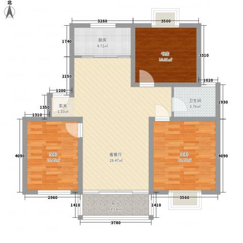 望馨花苑别墅3室1厅1卫1厨108.00㎡户型图