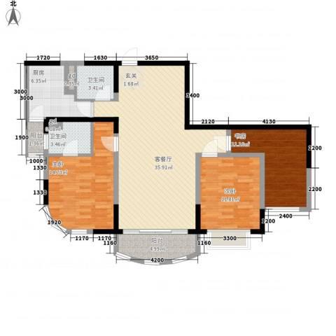 江岸名都3室1厅2卫1厨135.00㎡户型图