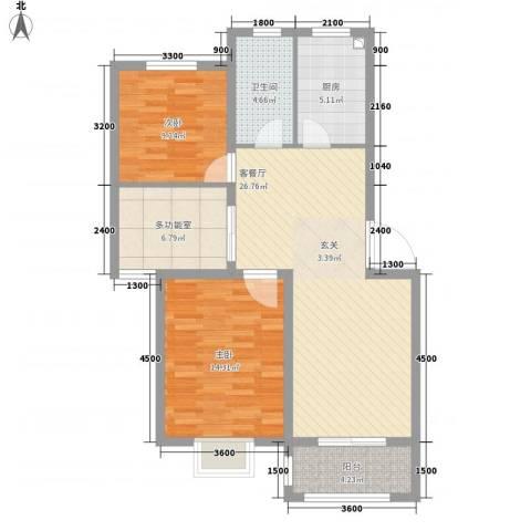 温哥华城・锦绣府邸2室1厅1卫1厨102.00㎡户型图