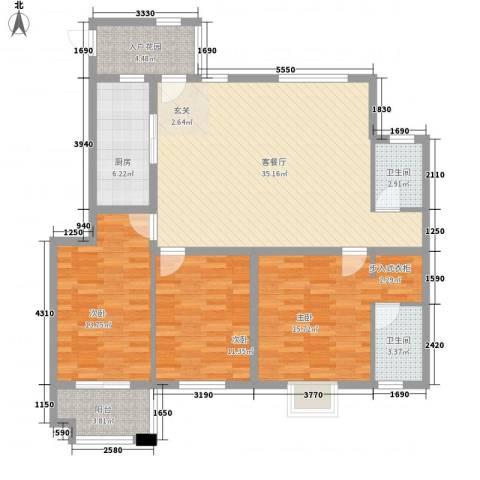 紫薇壹�二期3室1厅2卫1厨138.00㎡户型图