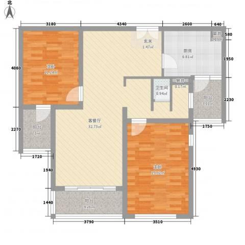 鹏欣・水游城2室1厅1卫1厨113.00㎡户型图