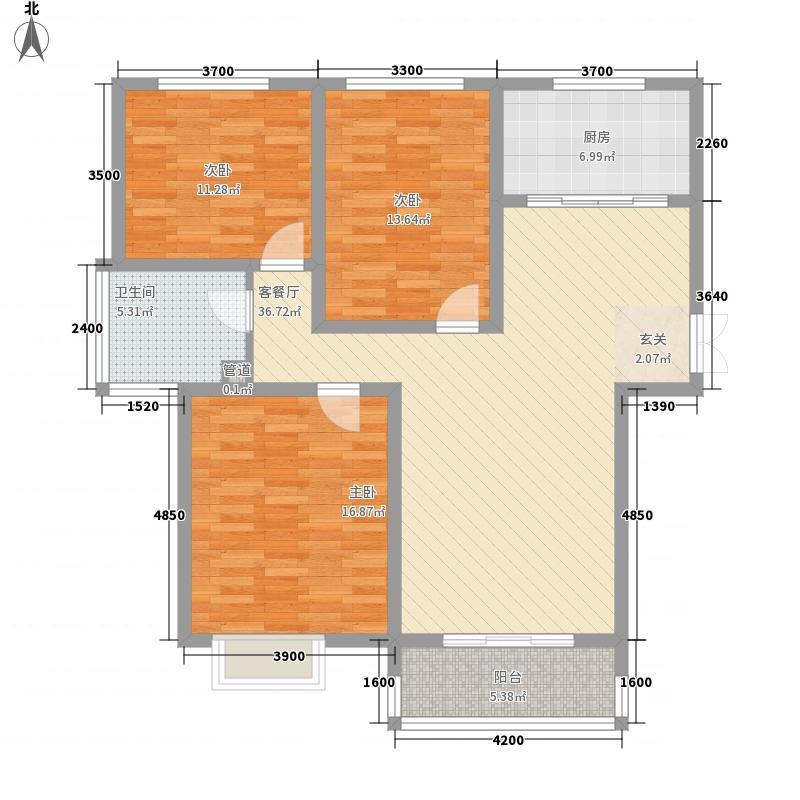 大顺花园A户型3室2厅1卫