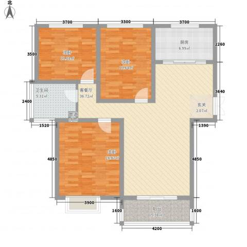 大顺花园3室1厅1卫1厨137.00㎡户型图