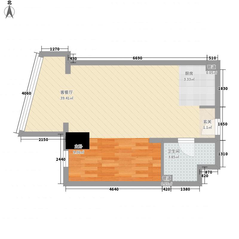 新华联丽港67.32㎡2号楼A户型1室2厅1卫1厨