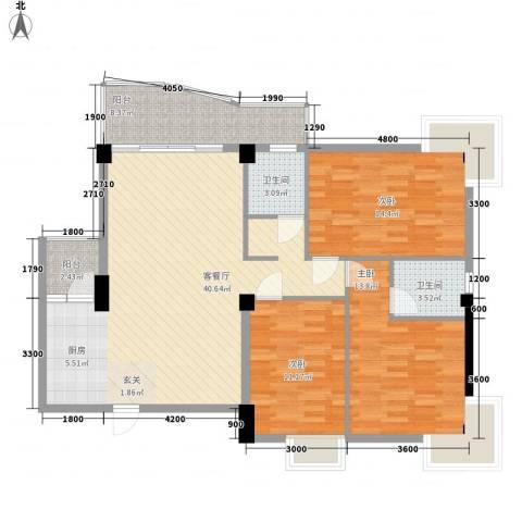 昌泰盛世家园3室1厅2卫0厨121.00㎡户型图