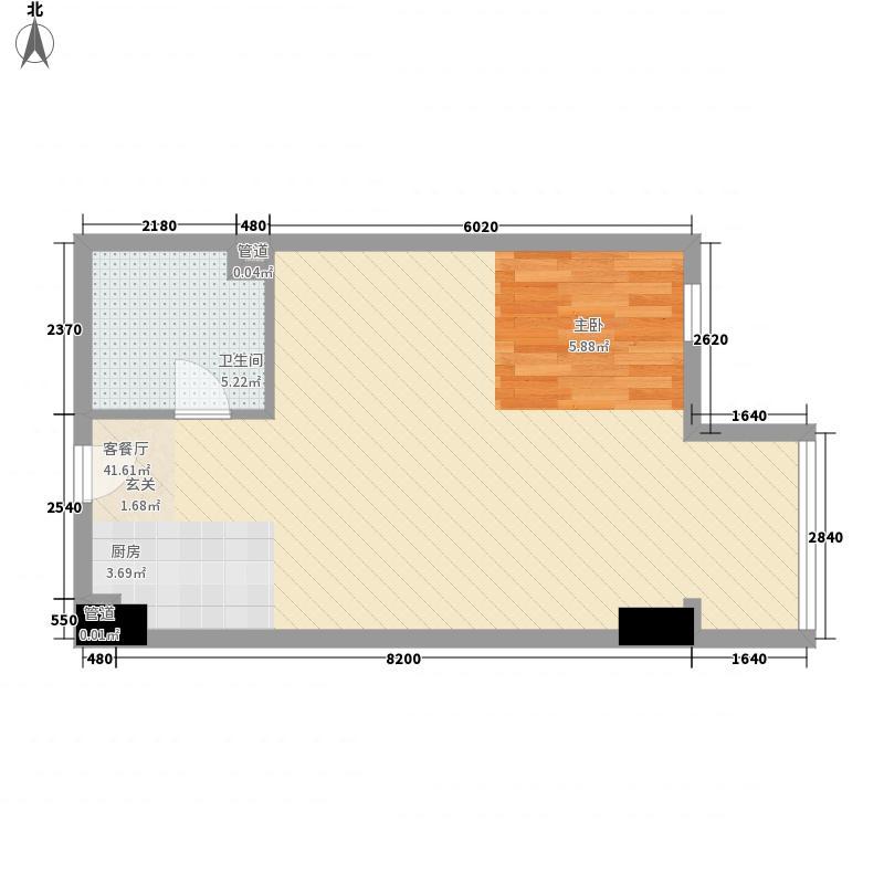 新华联丽港69.95㎡2号楼B户型1室2厅1卫1厨