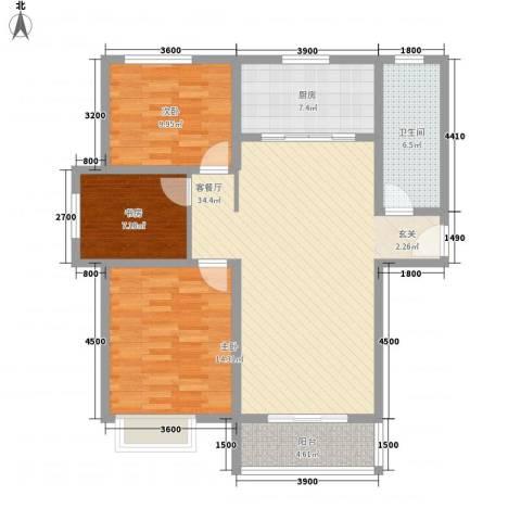 大顺花园3室1厅1卫1厨121.00㎡户型图