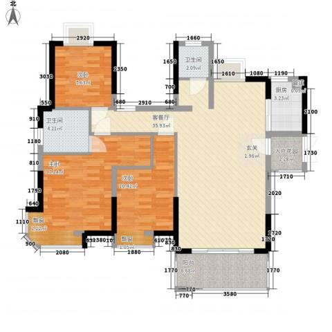 永鸿御景湾3室1厅2卫1厨128.00㎡户型图