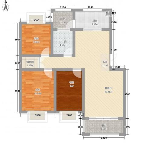 谷山庭院项目3室1厅1卫1厨113.00㎡户型图