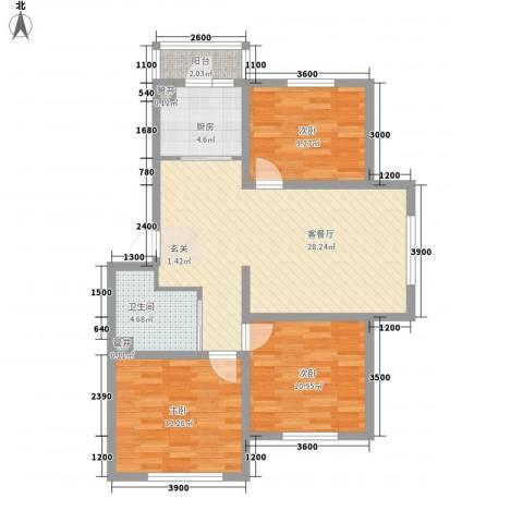 厦门罐头厂宿舍3室1厅1卫1厨104.00㎡户型图