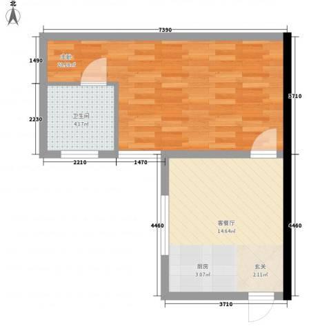勋望社区1室1厅1卫0厨55.00㎡户型图