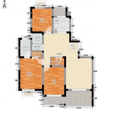 合鑫广场3室2厅2卫1厨123.00㎡户型图