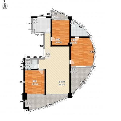 三亚湾国际公馆3室1厅2卫1厨166.00㎡户型图