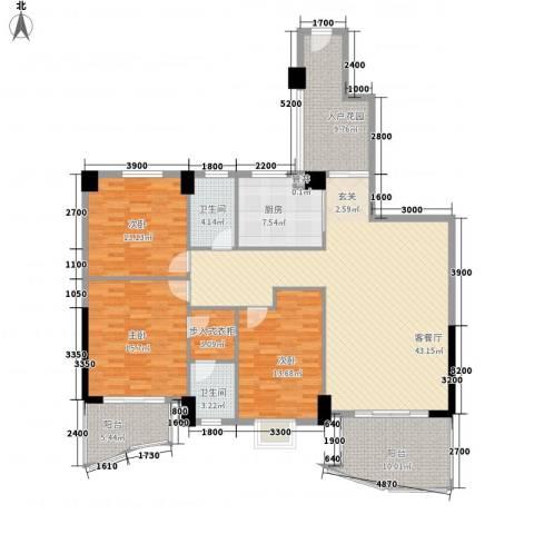 东堤湾花园3室1厅2卫1厨155.00㎡户型图