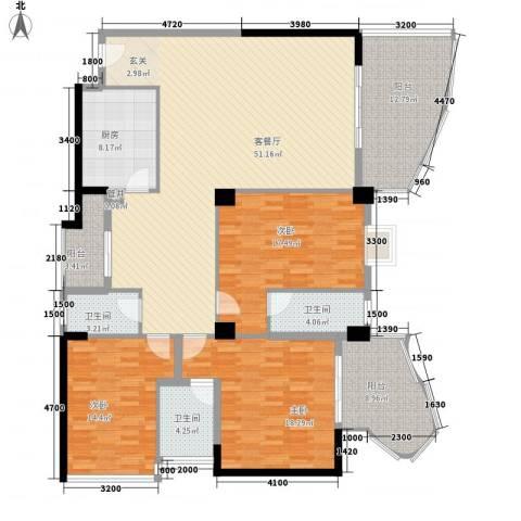 东堤湾花园3室1厅3卫1厨183.00㎡户型图