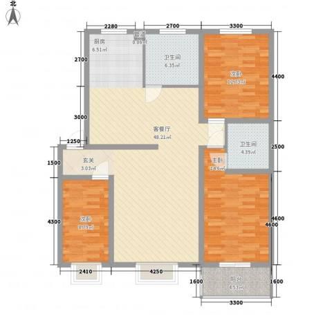 东岸上城3室1厅2卫0厨125.00㎡户型图