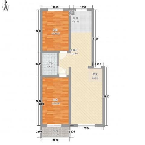 东岸上城2室1厅1卫0厨82.00㎡户型图