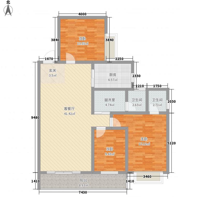 银鑫锦绣港湾152.72㎡A-3户型3室2厅2卫