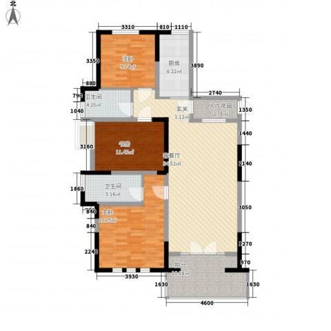 雅庭院3室1厅2卫1厨142.00㎡户型图