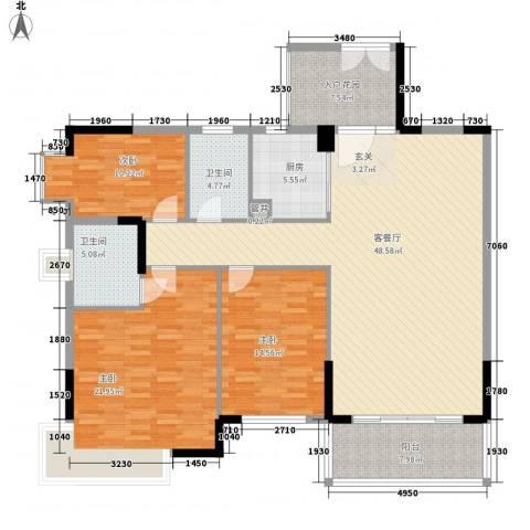 星河传说旗峰天下紫荆苑3室1厅2卫1厨175.00㎡户型图