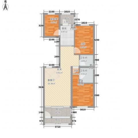 萧乡明珠2室1厅2卫1厨106.00㎡户型图
