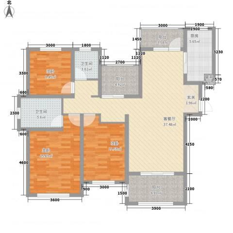 金域华府3室1厅2卫1厨132.00㎡户型图