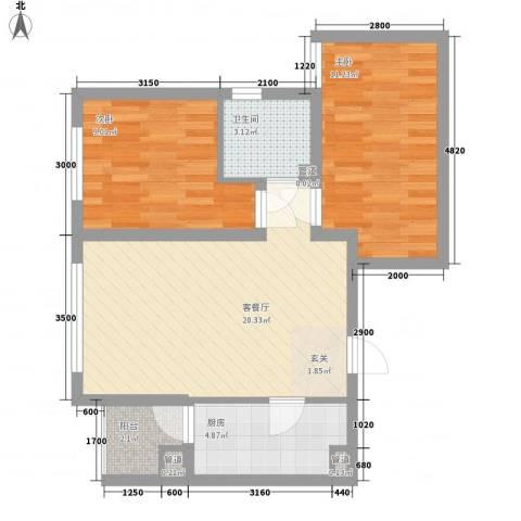 渝能明日城市2室1厅1卫1厨58.00㎡户型图
