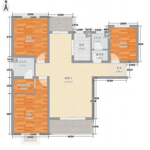 万国城3室2厅2卫1厨126.00㎡户型图