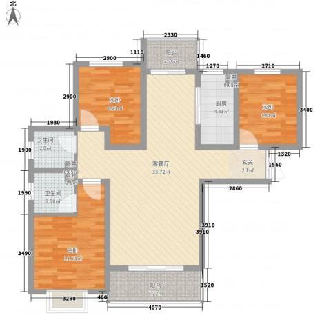 万国城3室1厅2卫1厨117.00㎡户型图